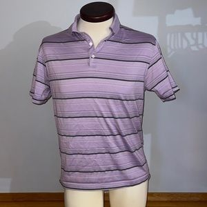 Nike TIGER WOODS Collection Dri-Fit Polo Golf Shirt Striped Purple Gray